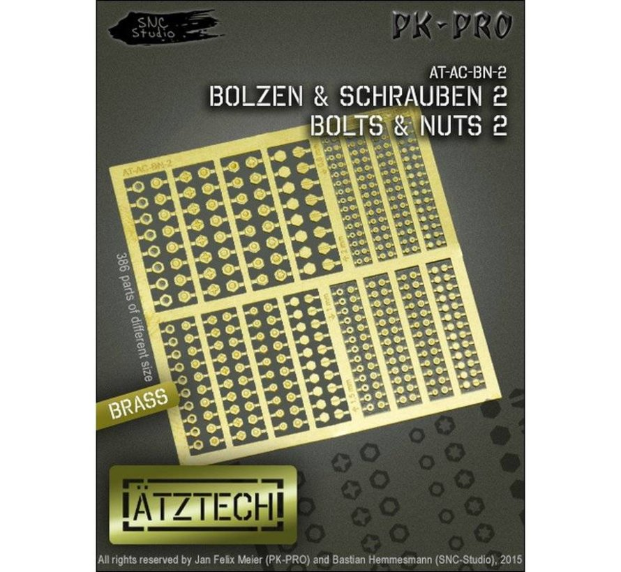 Ätztech Bouten en Moeren Zeshoekig - Photo-Etch - AT-AC-BN-2