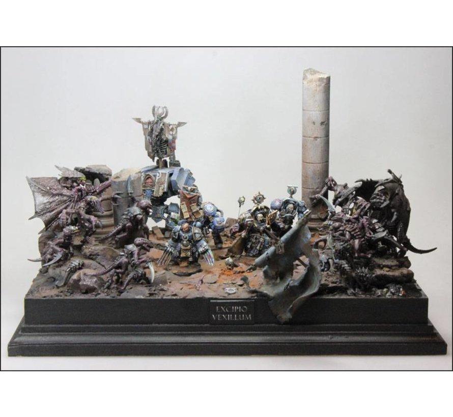 10x13cm diorama sokkel op voet - 10x13cm-Raw-Cavetto