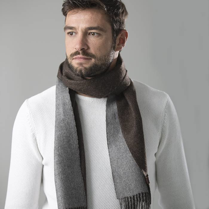 'Double Face' - Scarf - Dark Brown/Grey