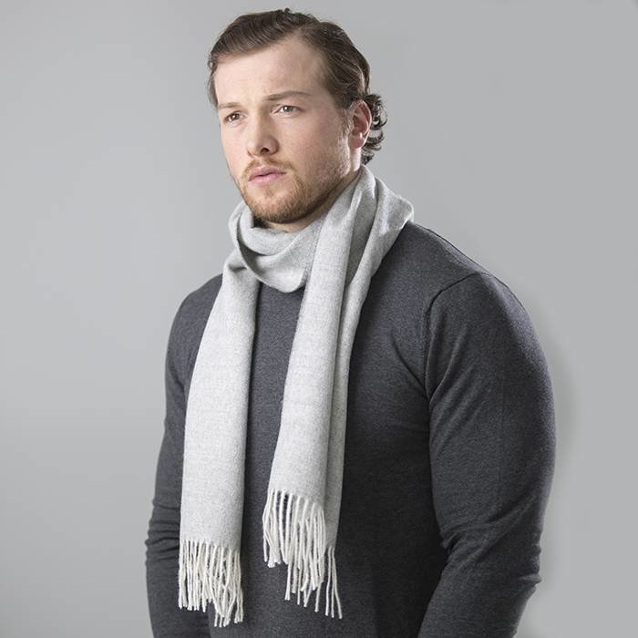Alpaca Scarf - 'Fishbone' -  Light Grey