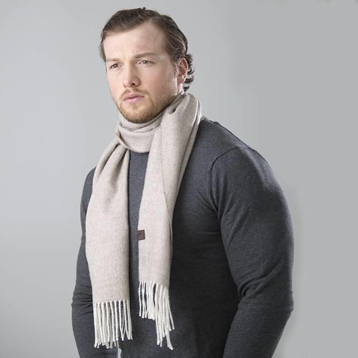 'Fishbone' - Sjaal - 100% Baby Alpacawol - Beige/Grijs