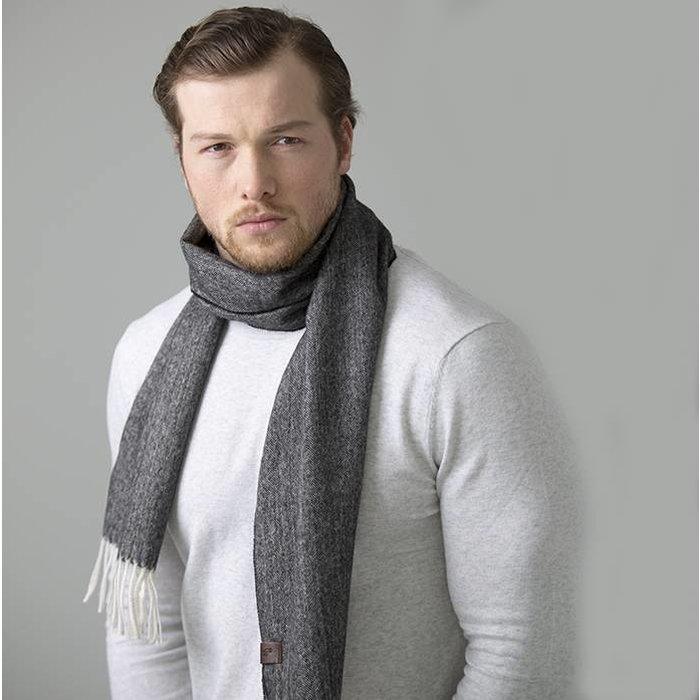 'Fishbone' - Scarf - 100% Baby Alpaca Wool - Dark Grey
