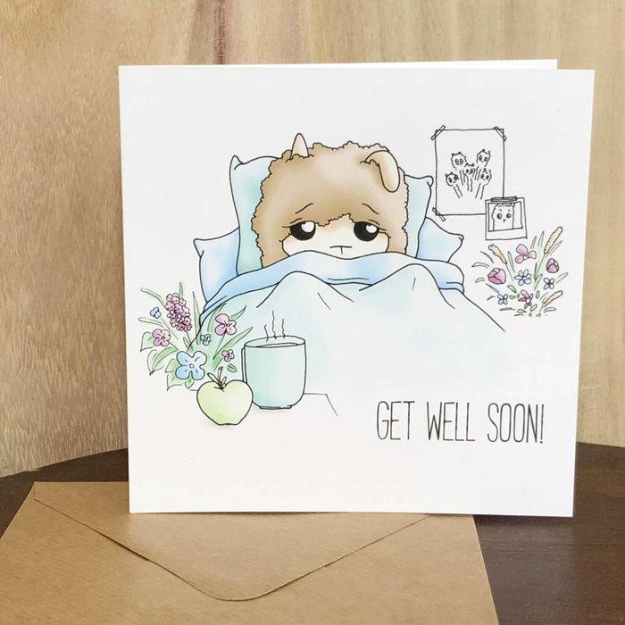 Beterschap! - Feel Better Alpaca Kaart