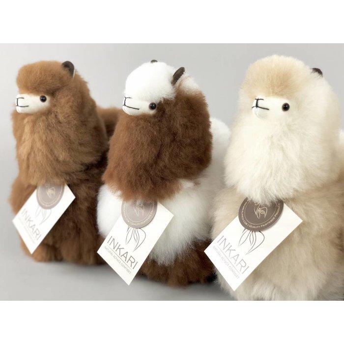 Alpaca Toy - Soft & Fluffy - Handmade in Peru - Hypoallergenic - White/Brown Mix