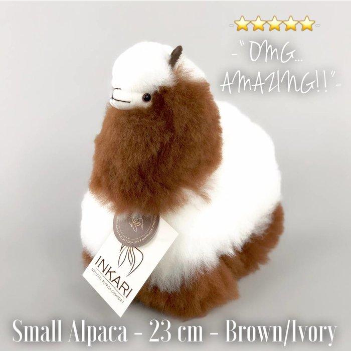 Alpaca Knuffel - Klein - Handgemaakt van Alpacawol - Hypoallergeen - Wit/Bruin Mix