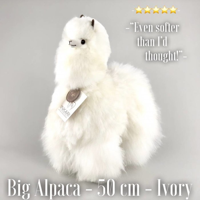 'Big Alpaca' - Fluffy Toy' - Handmade - Hypoallergenic - Ivory
