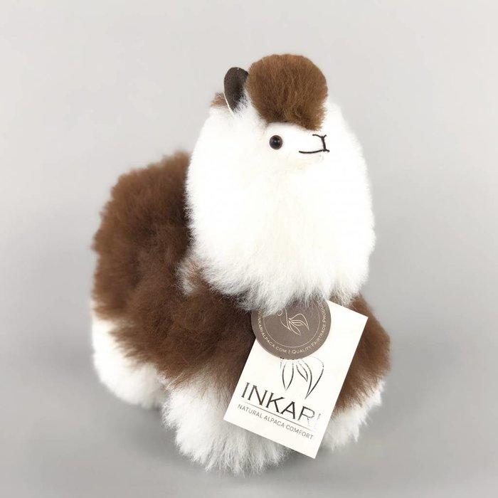 Alpaca Toy - Soft & Fluffy - Handmade in Peru - Hypoallergenic - White/Brown