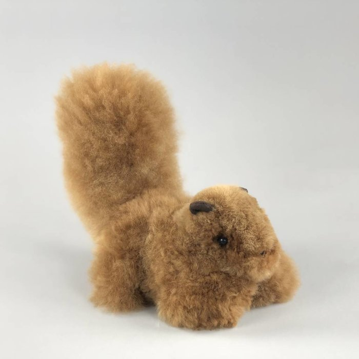 'Scruffy the Squirrel' - Fluffy Toy - Handmade - Alpaca Wool - Light Brown