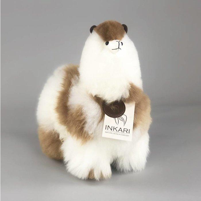 Alpaca Knuffel - Medium - Handgemaakt van Alpacawol - Hypoallergeen - Wit/Bruin Gevlekt