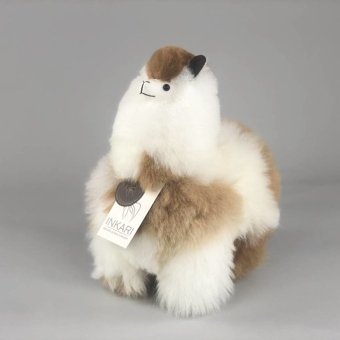 Alpaca Toy - Soft & Fluffy - Medium - Handmade in Peru - Hypoallergenic - Brown/White Mix