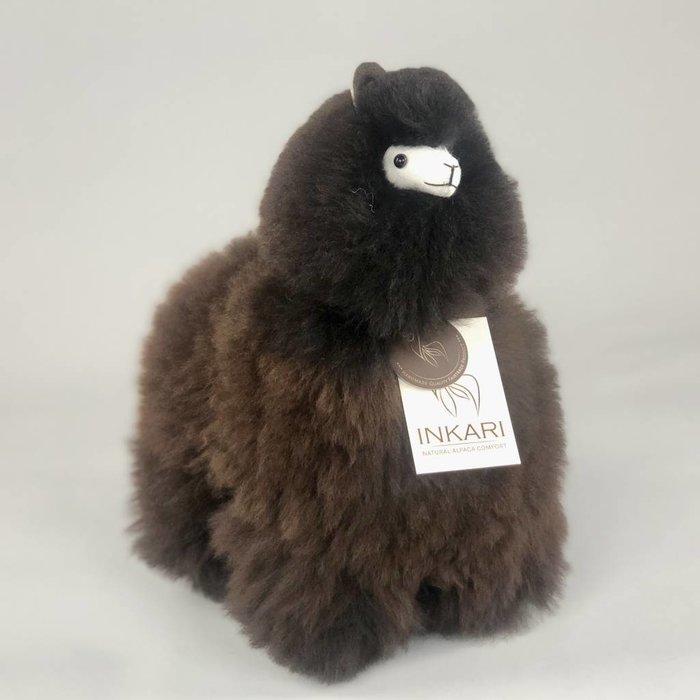 Alpaca Toy - Soft & Fluffy - Medium - Handmade in Peru - Hypoallergenic - Dark Brown/Black