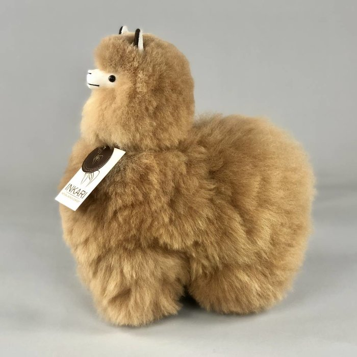 Alpaca Toy - Soft & Fluffy - Medium - Handmade in Peru - Hypoallergenic - Light Brown