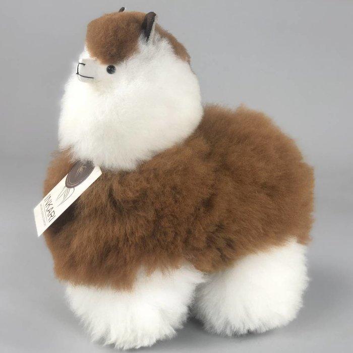 Alpaca Toy - Soft & Fluffy - Medium - Handmade in Peru - Hypoallergenic - Brown/White