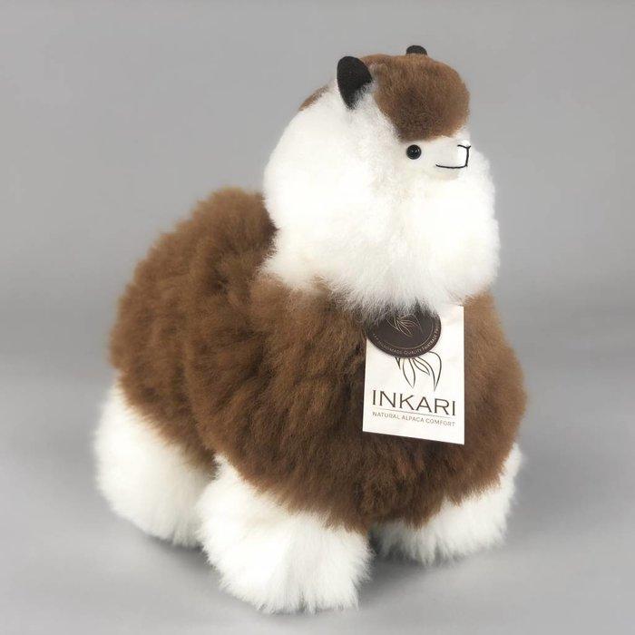 Alpaca Knuffel - Medium - Handgemaakt van Alpacawol - Hypoallergeen - Wit/Bruin