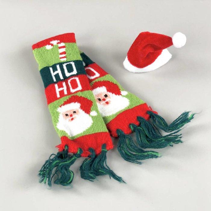 Christmas Hat + Scarf Ho Ho Ho - Santa