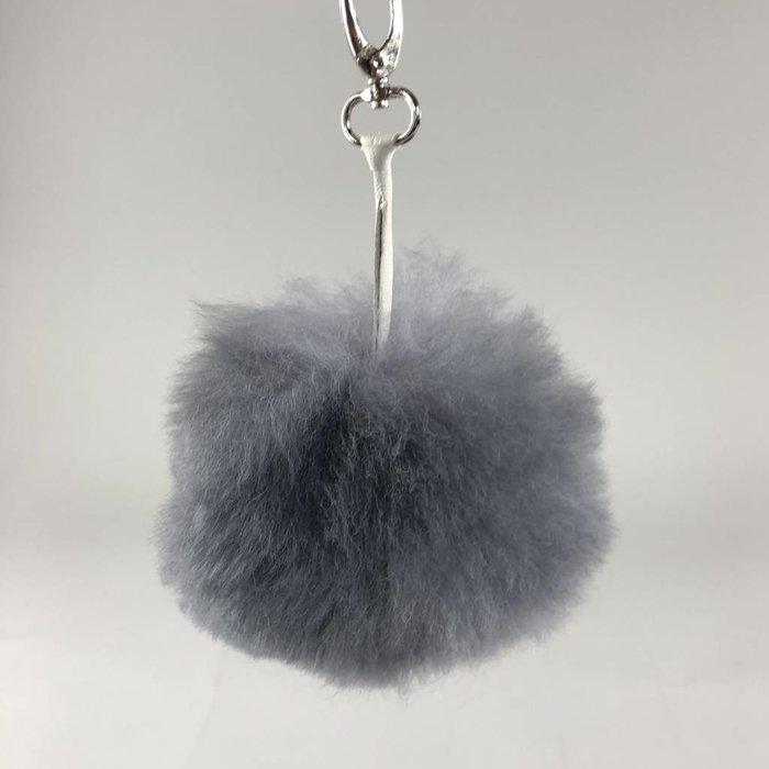 'Fluffball' - Bag Accessory/Keychain  - Handmade - Alpaca Wool - Grey