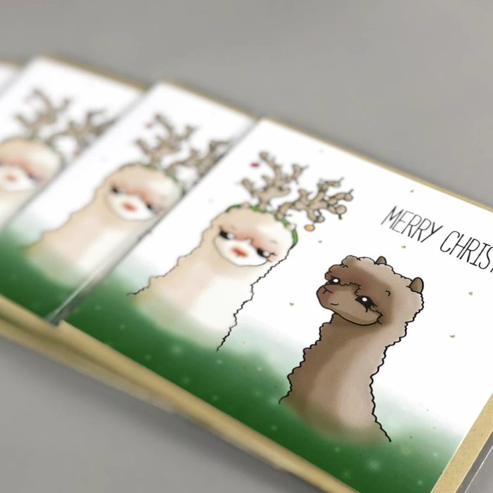 Alpaca Kerstkaarten - Alphie the Rednosed Alpaca