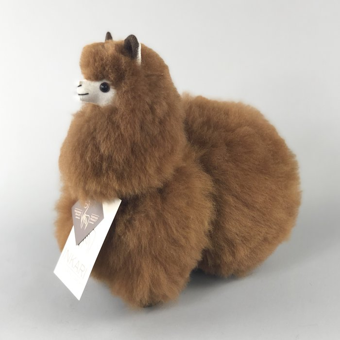 Alpaca Toy - Soft & Fluffy - Handmade in Peru - Hypoallergenic - Walnut