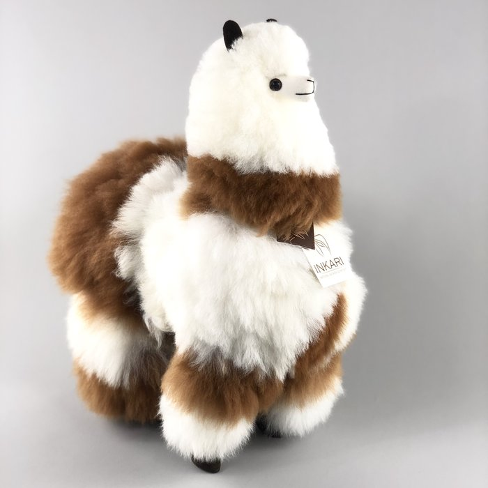 Big Alpaca Toy - Fluffy Toy  - Spotted White/Brown