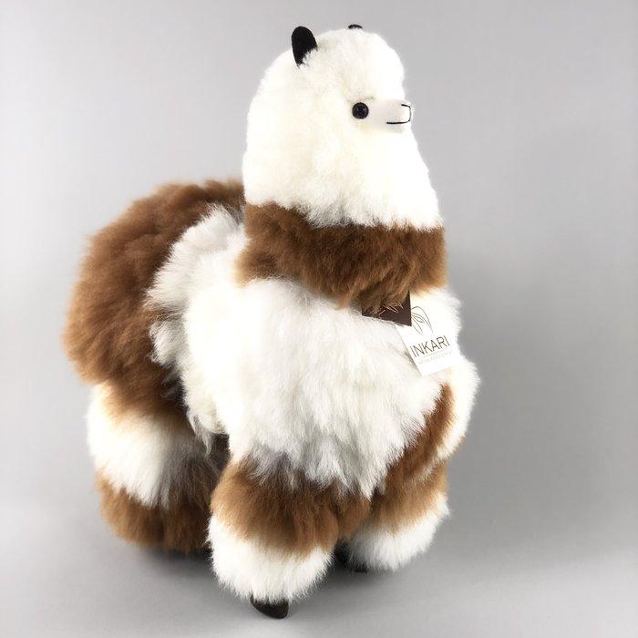 'Grote Alpaca' - Zachte Knuffel - Handgemaakt - Allergie-vrij - Wit/Bruin Gevlekt