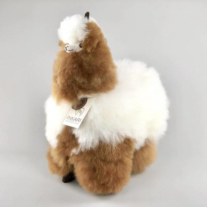 'Grote Alpaca' - Zachte Knuffel - Handgemaakt - Allergie-vrij - Bruin/Wit