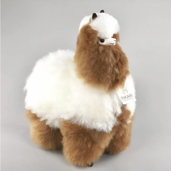 Grote Alpaca Knuffel - Bruin/Wit