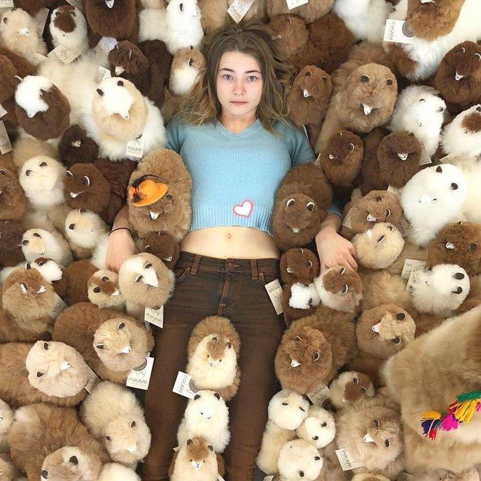 Suri Alpaca Wool Toy - Soft & Fluffy - Handmade in Peru - Hypoallergenic - Gold