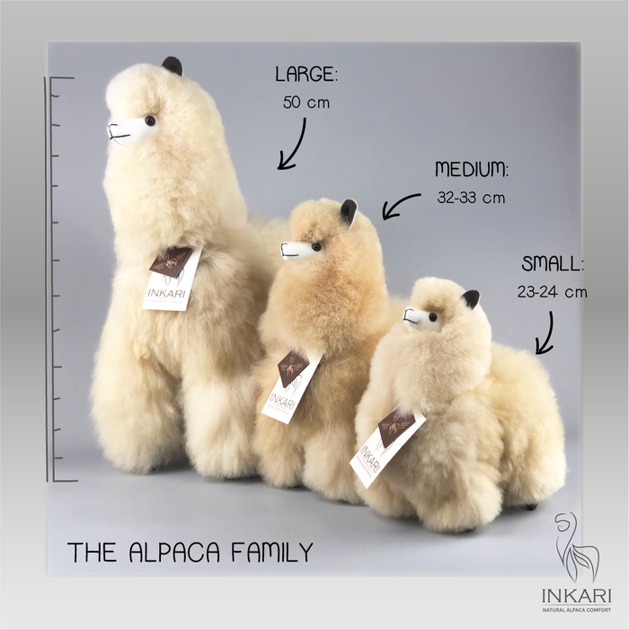 Alpaca Toy - Soft & Fluffy - Handmade in Peru - Hypoallergenic - Beige