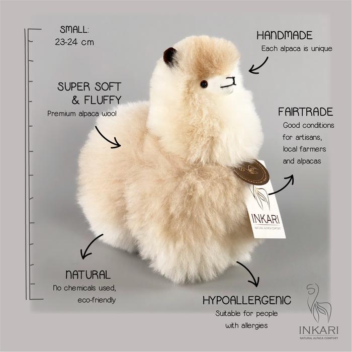 Kleine Alpaca Knuffel - Handgemaakt van Alpacawol - Hypoallergeen - Sahara