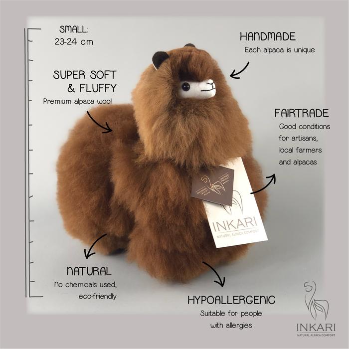 Alpaca Toy - Soft & Fluffy - Handmade in Peru - Hypoallergenic - Choco Cream