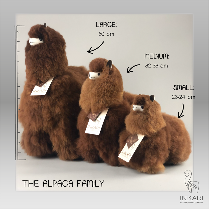 Alpaca Toy - Soft & Fluffy - Handmade in Peru - Hypoallergenic - Medium - Choco Cream