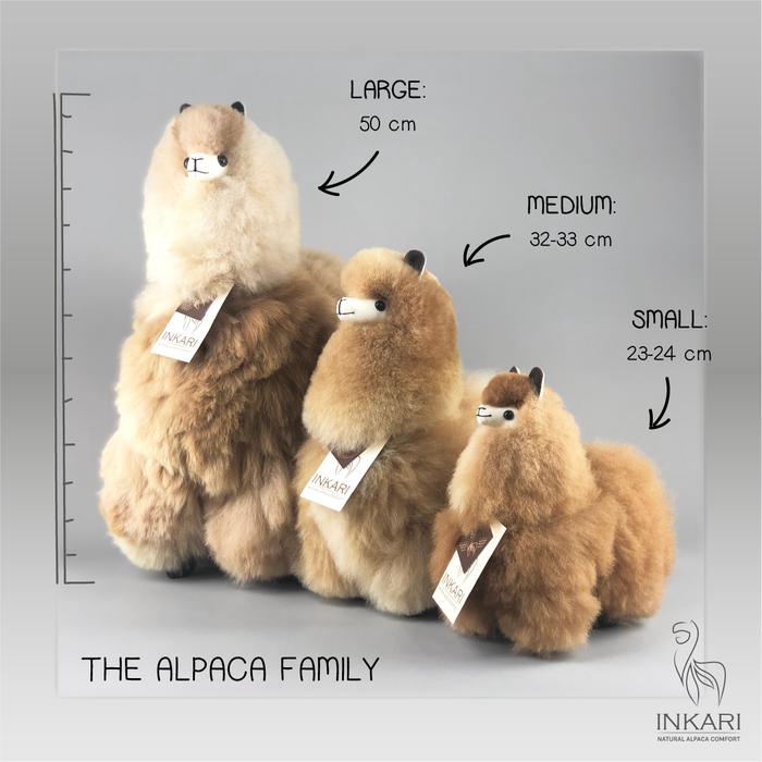 'Grote Alpaca' - Zachte Knuffel - Handgemaakt - Allergie-vrij - Naturel Bruin