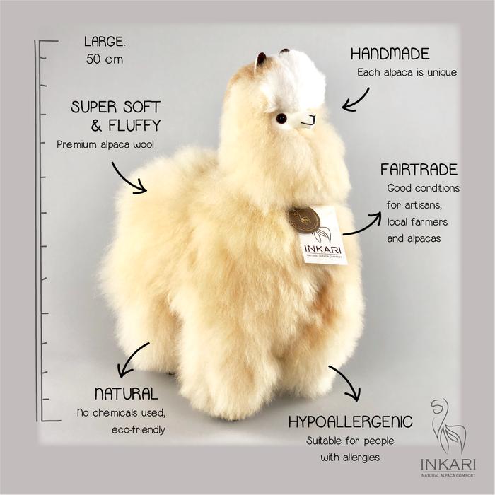 'Grote Alpaca' - Zachte Alpaca Knuffel - Handgemaakt - Allergie-vrij - Blond