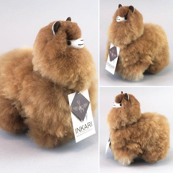 Kleine Alpaca Knuffel - Handgemaakt van Alpacawol - Hypoallergeen - Caramel