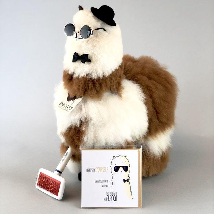 'Grote Alpaca' - Zachte Knuffel - Handgemaakt - Allergie-vrij - Ivory Syrup