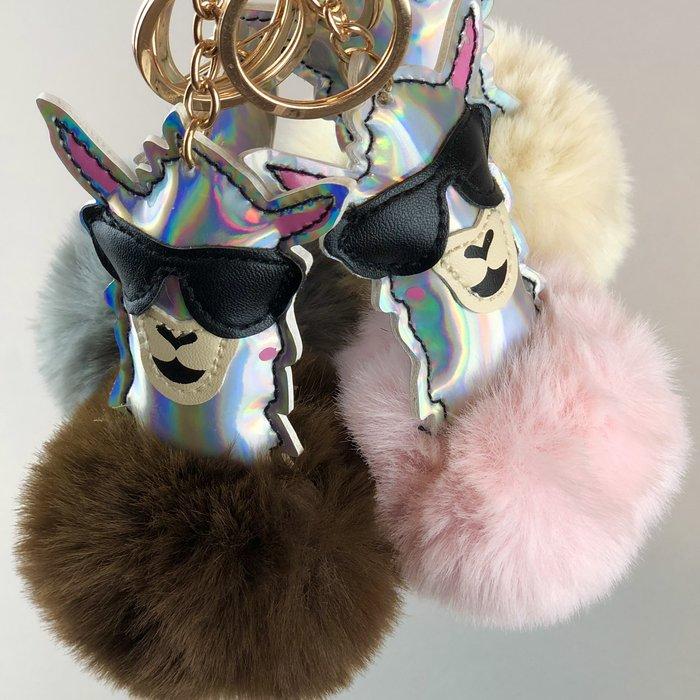'Cool & Fluffy' - Alpaca Keychain' - Faux Fur