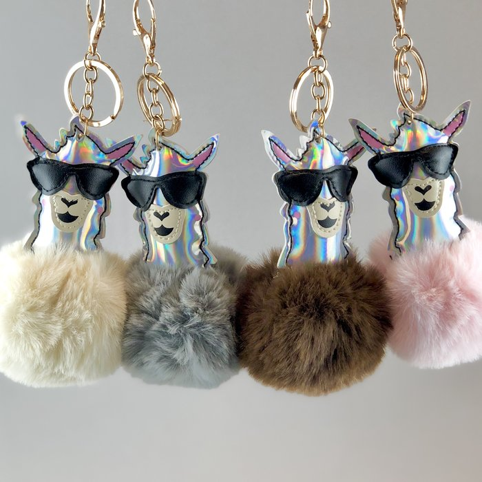 'Cool & Fluffy' - Alpaca Keychain' - Faux Fur