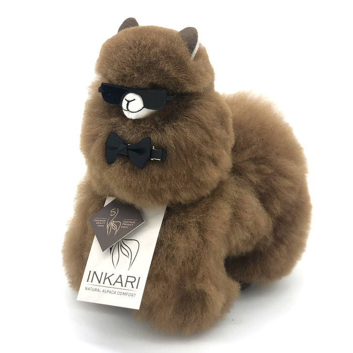 Alpaca Toy - Soft & Fluffy - Handmade in Peru - Hypoallergenic - Walnut