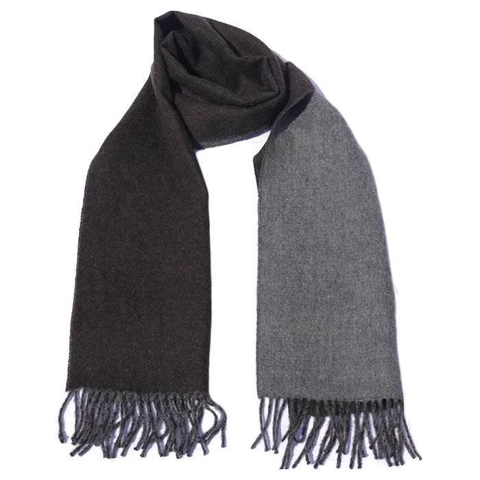'Double Face' - Scarf - 100% Alpaca Wool - Dark Brown/Grey