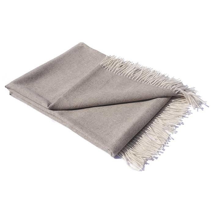 'Fishbone' - Alpaca Throw - Beige/Grey - 100% Alpaca