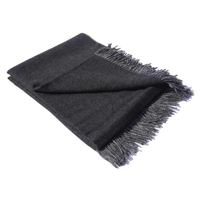 'Double Face' - Alpaca Throw - 100% Alpaca Wool - Dark Grey/Light Grey