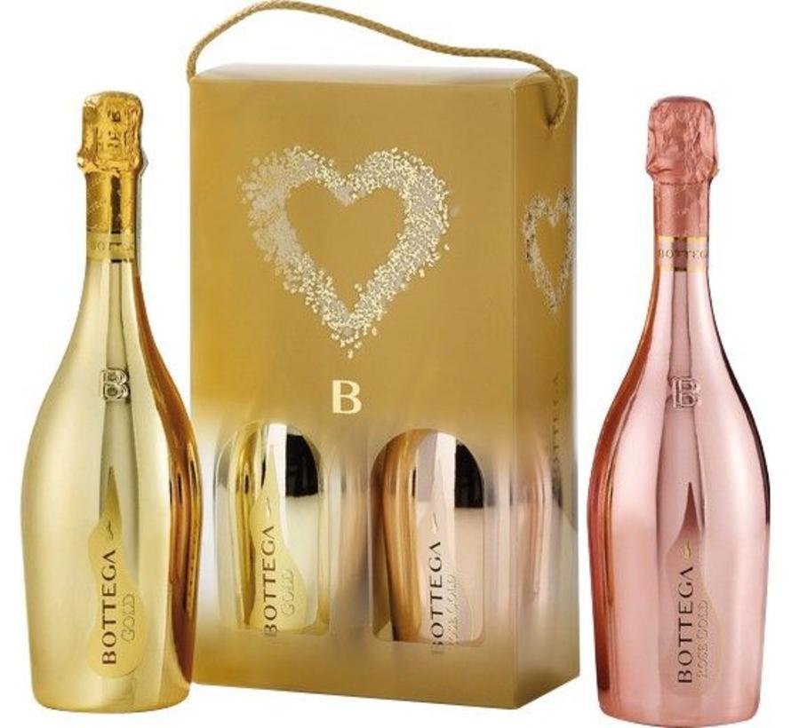 Gold Prosecco  & Bottega Gold rosé in giftpack