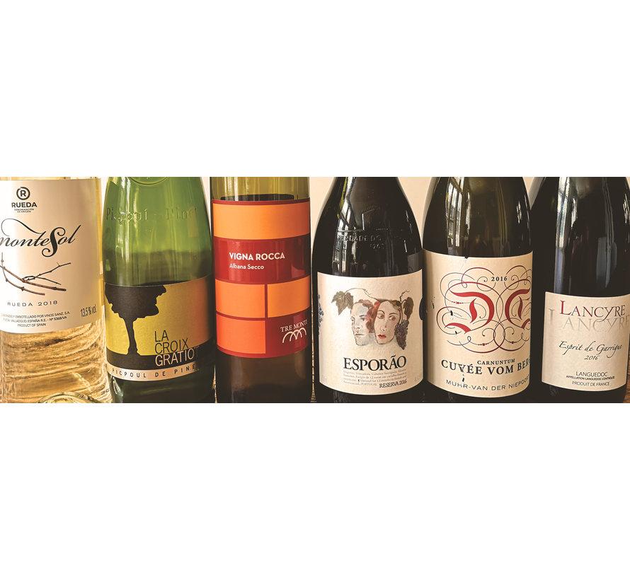 Wijnvondstenbox van 6 flessen