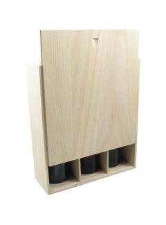 3 vaks houten champagnekist