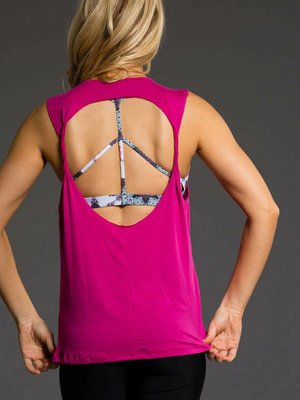 Onzie Yoga Wear Twist Back Top - Summer Rose (S-L)