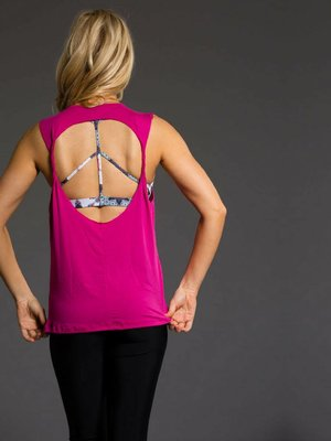Onzie Yoga Wear Twist Back Top - Summer Rose (S/M/L)