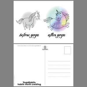 Ansichtkaart (10x) Before Yoga - After Yoga Unicorn