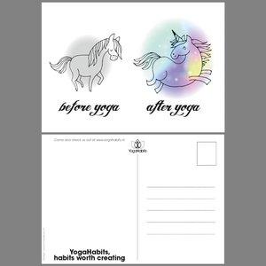 Postcard (10x) Before Yoga - After Yoga Unicorn
