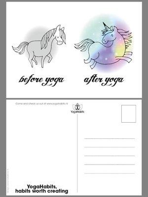 YogaHabits Postcard (10x) Before Yoga - After Yoga Unicorn