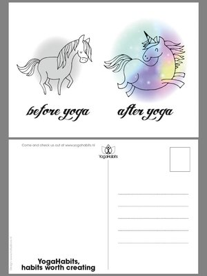 YogaHabits Postcard (set of 10 cards) Before Yoga - After Yoga Unicorn